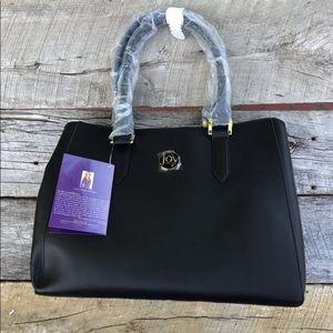 NWT Joy Mangano Black Leather Satchel Large